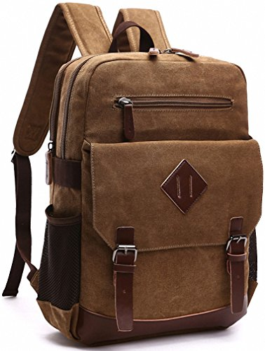 Vintage Canvas Laptop Backpack School College Rucksack Bag (Brown) - 2