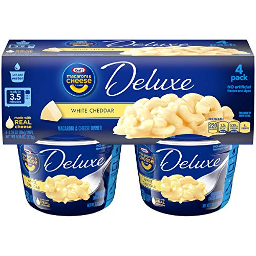 Kraft Deluxe Macaroni & Cheese Cups White Cheddar, 4 – 2.39 oz Cups