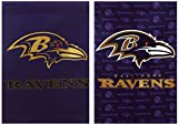 Team Sports America NFL Baltimore Ravens Suede Two Sided Glitter Embellished Garden Flag, Medium, Multicolored