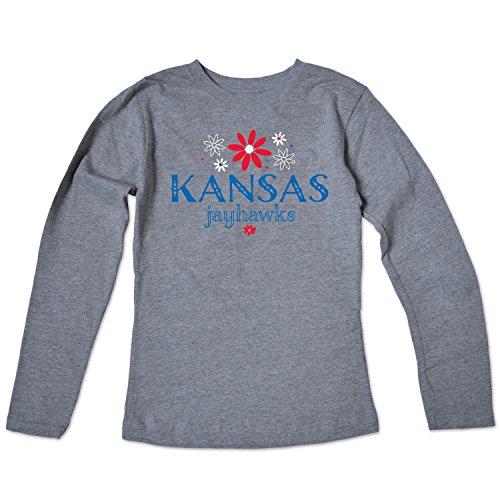 NCAA Kansas Jayhawks Girls Long Sleeve Tee, Size 14-16/Large, Varsity Oxford