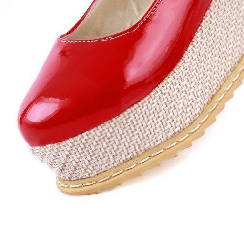 Amoonyfashion Damesschoenen Met Dichte Neus En Hoge Hakken Pumps-schoenen Met Polsband, Gesp Rood