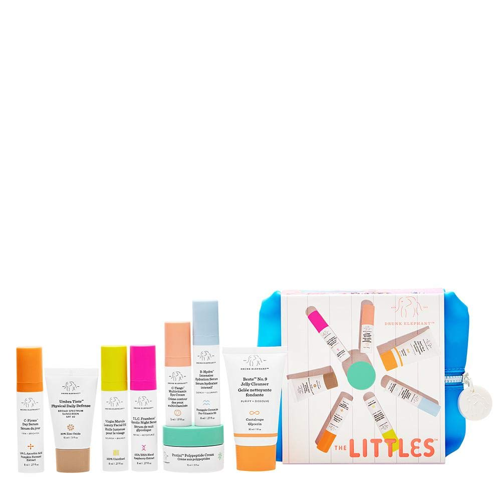 Drunk Elephant The Littles 3.0 Kit. Travel Skin Care Essentials Bundle w/Bag (Jelly Cleanser, SPF 30 Sunscreen, 3 Day & Night Serums, Facial Oil, Multivitamin Eye Cream, and Peptide Cream)