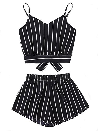 Verdusa Women's Spaghetti Strap Striped Knot Back Cami Top with Shorts Set Navy M