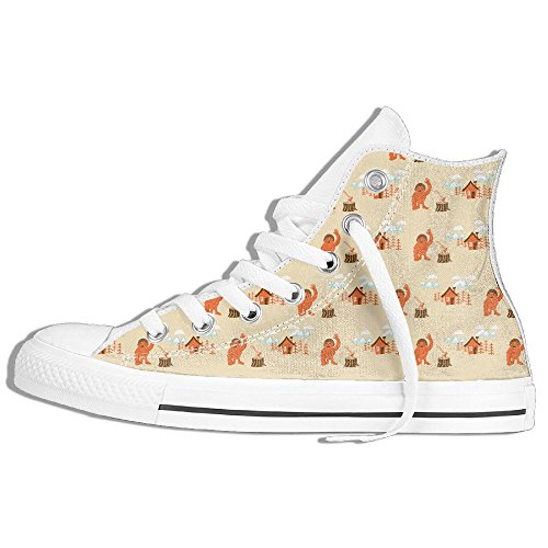 Platform Shoes With Goldfish (Bigfoot Outdoor Pattern Fashion Unisex High Top Lace Up Shoes Casual Canvas Non-slip Sneakers For Women And Men)