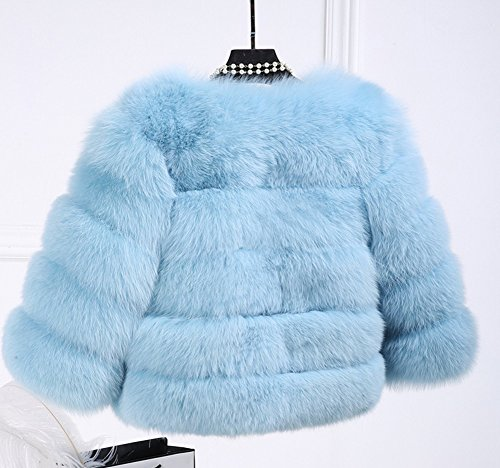 avec Longues Clair Manches Vest Femme Coat Fausse en Manteau Court pour LaoZan Gilet Fourrure Bleu gXqwgR