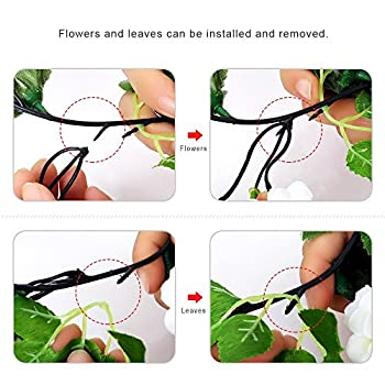 YILIYAJIA 3PCS Artificial Rose Garlands Silk Fake Rose Flowers Green Leaves Vine for Home Hotel Office Wedding Party Garden Craft Art Decor (White)