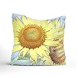 400-Thread-CountSunflower Sunshine Cotton Sateen Hotel Stitch Sham - Standard, Navy