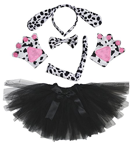 Petitebella Headband Bowtie Tail Gloves Tutu Unisex Children 5pc Girl Costume (Dalmatians Dog) ()