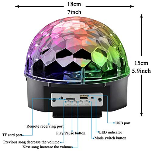 Bluetooth Disco Ball Lights, 9 Colors LED Party Lights DJ Sound Activated Rotating Lights Wireless Phone Connection with Bluetooth Speaker MP3 Play and Remote for Home KTV Wedding Dance Show by Allness Group (Image #4)