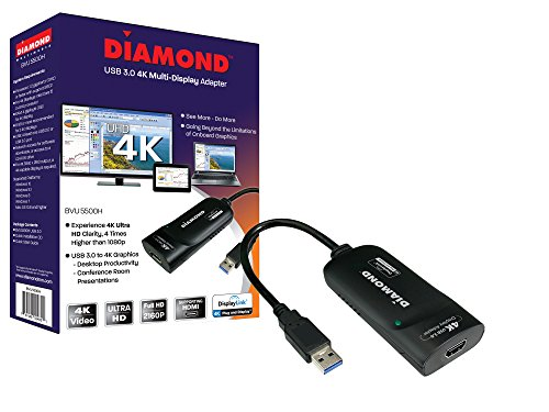 Diamond BVU5500H USB to HDMI 4K/2K  Video Graphics Adapter with Audio for Multiple Monitors ( 3840 X 2160 ) supports  Windows 10,8.1,8,7. (Windows Update Slows Computer To A Crawl)