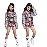 5981b81ab Moyuqi Girls Sequin Ballroom Jazz Hip Hop Dance Costumes Tank Tops Shorts  Jackets Coats