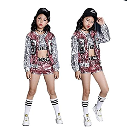 Moyuqi Girls Sequin Ballroom Jazz Hip Hop Dance Costumes