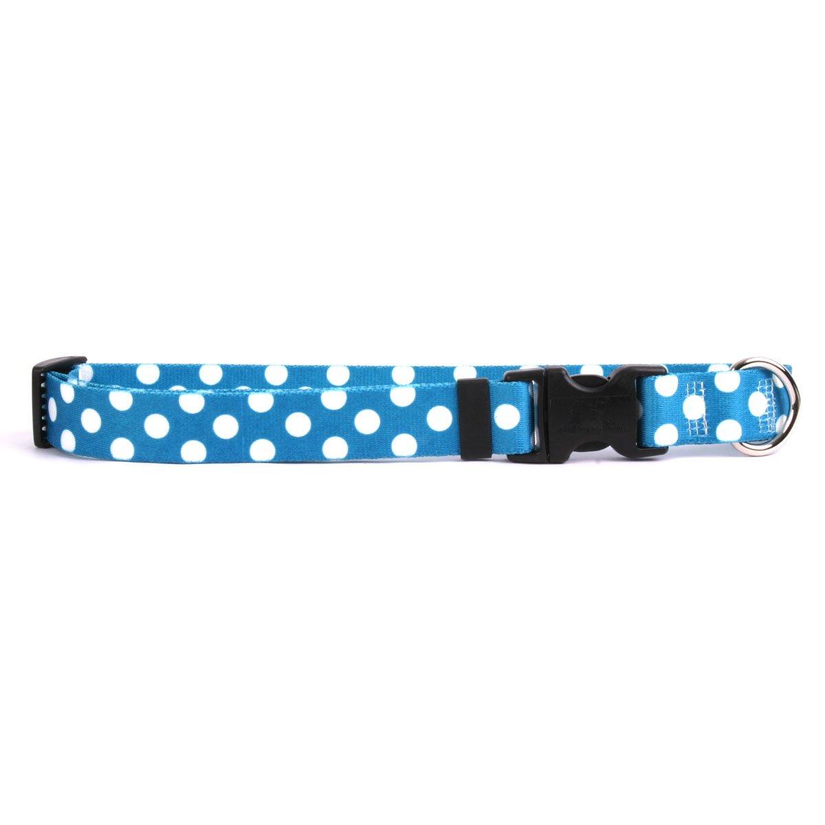 Yellow Dog Design Standard Easy-Snap Collar, Blueberry Polka Dot, Teacup 4'' - 9''