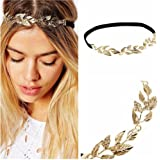 New Lady Hair Accessory Rhinestone Golden Metal Leaf Headband Elastic Hair Band