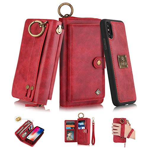 iPhone Xr Flip Wallet Case,SXTBMR Magnetic Detachable Handmade Cowhide Wallet Case Leather,Zipper Wallet Flip Protective Case Cover with Card Holder [Wrist Strap] for iPhone Xr Red