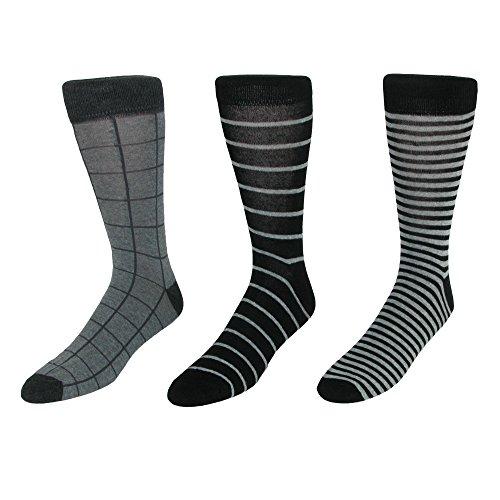 Parquet Men's Dress Sock Gift Box Set (3 Pair Pack), Black Gray by Original Penguin