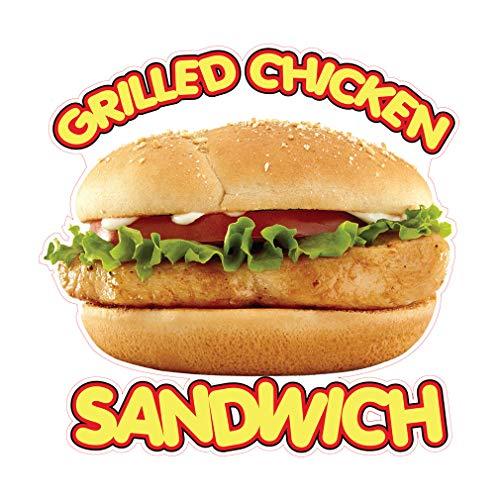 Die-Cut Sticker Multiple Sizes Grilled Chicken Sandwich Restaurant & Food Grilled Sandwich Indoor Decal Concession Sign Brown - 48in Longest Side