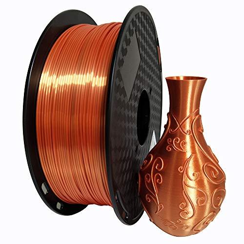 3D Printer Silk Orange PLA Filament 1.75 mm 1 KG (2.2 LBS) Spool 3D Printing Material Shine Silky Shiny PLA Metal Red Copper Like Metallic PLA Filament CC3D Shiny Silk Gold Silver Copper