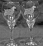 Cheap Muddy Creek Reflection English Cocker Spaniel Dog Laser Etched Wine Glass Set (2, TDW)