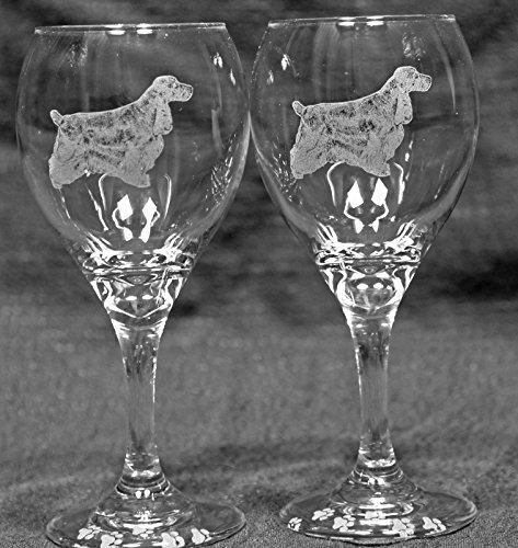 Muddy Creek Wine - Muddy Creek Reflection English Cocker Spaniel Dog Laser Etched Wine Glass Set (2, TDW)