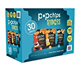 Popchips Ridged Potato Chips, Variety Pack, 30 Count (Single Serve 0.8 oz Bags), 3 Flavors: Cheddar & Sour Cream, Tangy BBQ, Salted