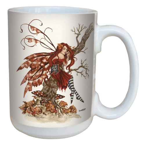 - Tree-Free Greetings lm43537 Fantasy Autumn Daydream Fairy Ceramic Mug with Full Sized Handle by Amy Brown, 15-Ounce