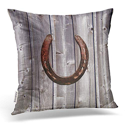 Emvency Square 16x16 Inches Decorative Pillowcases Wood Pillows Country Western Lucky Horseshoe Rustic Wood Pillow Cotton Polyester Decor Throw Pillow Cover With Hidden Zipper For Bedroom Sofa