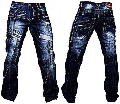 Kosmo Lupo Herren Jeans Hose Verwaschen Vintage Nieten Clubwear Denim 261D>