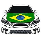 Brazil Flag Car Hood Cover 3.3X5FT 100% Polyester,Engine Flag,Elastic Fabrics Can be Washed,Car Bonnet Banner