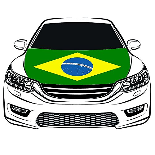 Brazil Flag Car Hood Cover 3.3X5FT 100% Polyester,Engine Flag,Elastic Fabrics Can be Washed,Car Bonnet Banner (Brazil Flag Car)