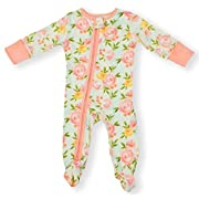 Earthy Organic Baby Sleeper 2-Way Zipper Pajamas Boy Girl (9 Sizes: Preemie-3T) 100% Organic Cotton (3M- Footed, Blossom)