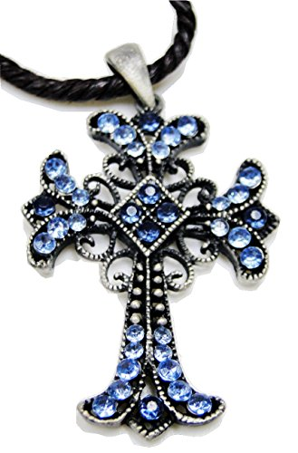 Antique Fashion Cross with Swarovski Crystals Pendant Necklace - Light Sapphire Light Sapphire Necklace