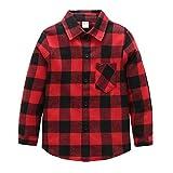 Grandwish Kids Long Sleeve Plaid Cotton Shirt 3 Red Black Years