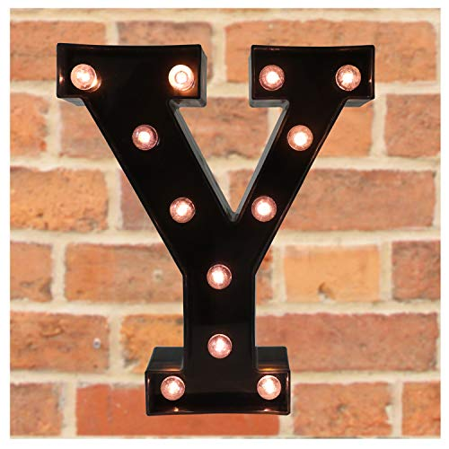 Pooqla Decorative LED Illuminated Letter Marquee Sign - Alphabet Marquee Letters with Lights for Wedding Birthday Party Christmas Night Light Lamp Home Bar Decoration Y, Black
