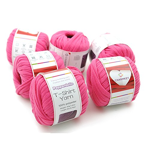 Charmkey Pappardelle T Shirt Yarn Soft 100% Polyester Fabric 7 Jumbo Fashion Knitting Cloth Tape for Crocheting Bags Bowls DIY Handicraft, Pack of 6 Skeins, 1.41 Ounce×6 (Fandango ()