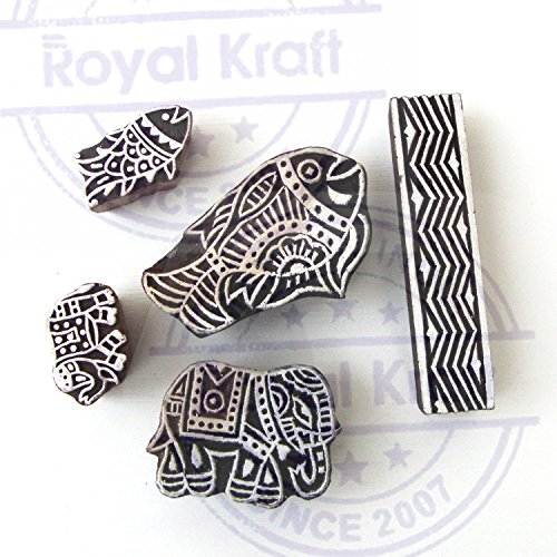 Asian Elephant and Fish Motif Wood Print Stamps (Set of 5) by Royal Kraft (Image #1)