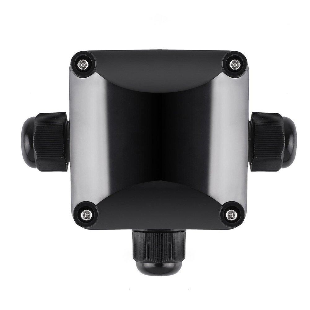 PUAK523 Junction Box, 3-Way Waterproof Cable Connectors Coupler Box, Outdoor/External Electrical Junction Box (115 * 95 * 50,Black)