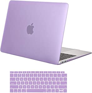MOSISO MacBook Air 13 inch Case 2020 2019 2018 Release A2179 A1932 with Retina Display, Plastic Hard Shell Case & Keyboard Cover Only Compatible with MacBook Air 13 with Touch ID, Light Purple