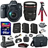 Canon EOS 6D 20.2 MP Full-Frame CMOS Digital SLR Camera Bundle with Canon EF 24-105mm f/4 L IS USM Lens + Transcend 64GB Memory Card + Canon Deluxe Case + 12 Spider Tripod + Battery Power Grip