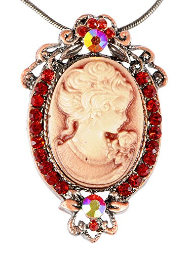 Alilang Vintage Inspired Ruby Red Crystals Cameo Lady Victorian Pendant Necklace