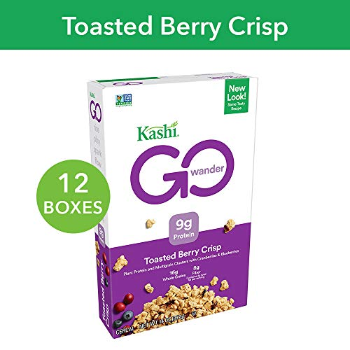 Kashi GO Toasted Berry Crisp Cereal - Vegan | Non-GMO | 14 Oz Box (Pack of 12 Boxes)