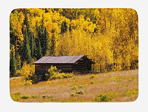 Doormats Rustic Bath Mat, Hut and Forest with Shedding Faded Leaf Autumn Fall Tree Meadow Provincial Picture, Plush Bathroom Decor Mat with Non Slip Backing, 23.6 W X 15.7 W Inches, Yellow Brown