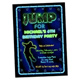 Neon Boy Jump Birthday Invitations Trampoline Park Party