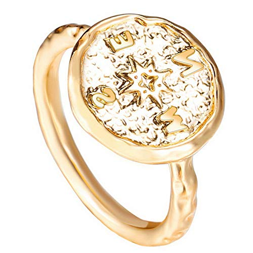 Campton Fashion Retro Punk Compass Ring Men Women Jewelry Band Ring Gold Silver Size 6-9 | Model RNG - 11846 | -