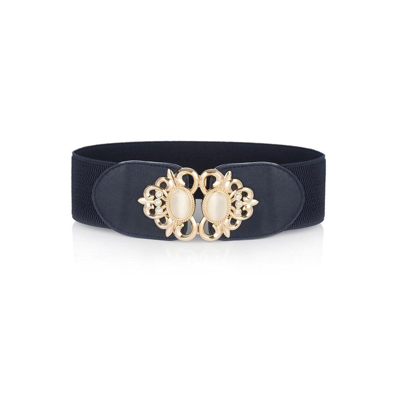 Osye Wide Elastic Stretch Gemstone Interlock Women's Waist Belt, Navy
