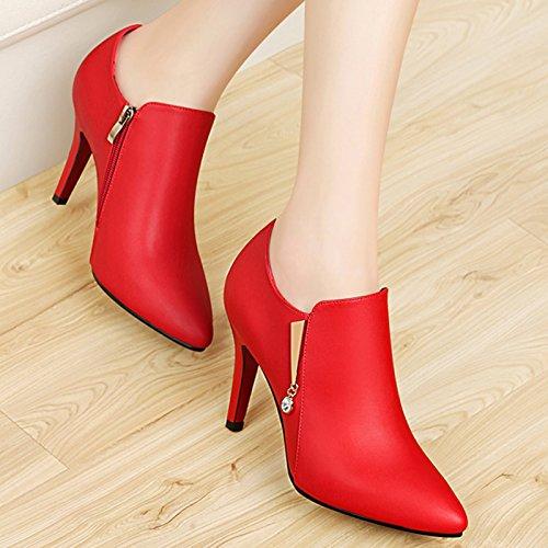 Heel Claret Leather Heel Shoes Spring Leather Autumn Heel New KPHY Heel Shoes And Autumn Shoes Shoes Heel 6waxBq