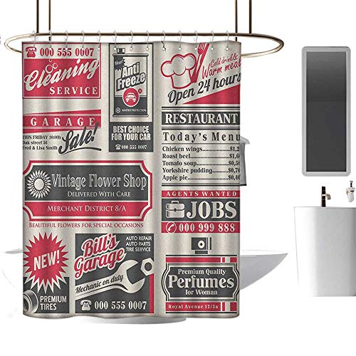 MKOK Personalized Pattern Shower curtain70 x70 Retro,Retro Newspaper Magazine Design Outdated Layout Different Topics Title Artwork Cream Red Black,Hand Drawing Effect Fabric Shower Curtains Odorless