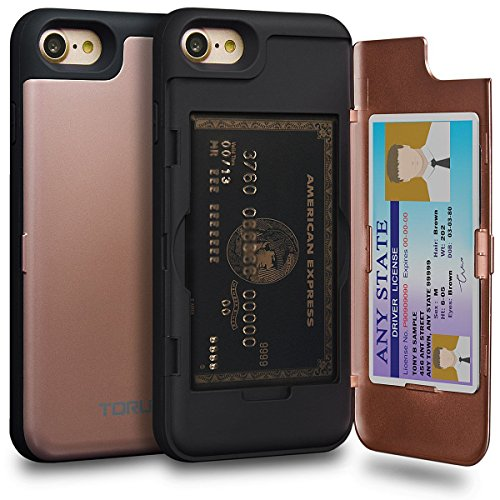 TORU CX PRO iPhone 7 Wallet Case Pink with Hidden ID Slot Credit Card Holder Hard Cover & Mirror for iPhone 7 / iPhone 8 - Rose Gold