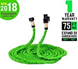 Wingogh Expandable Garden Hose - 75ft Expanding Pressure Garden Water Hose, Brass Fitting & Triple Layer Latex Core & Latest Improved Extra Strength Fabric Protection for All Your Watering Needs