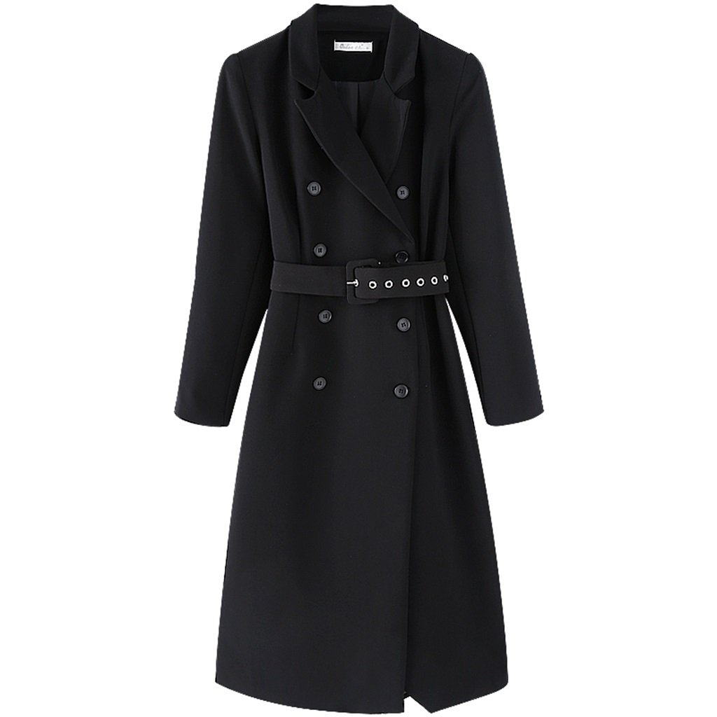 Long Section of Ladies Coat Spring Black Long Section of The Windbreaker Lightweight Jackets (Size   S)